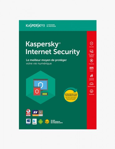 Kaspersky Internet Security 2020 - 1 Poste / 1 An (KL19398BAFS-20FFPMAG)