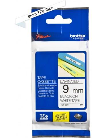 Cassette à ruban Brother TZE221 - Noir sur blanc, 9 mm de large / 8 m