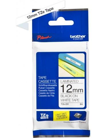 Cassette à ruban Brother TZe-231 - Noir sur blanc 12 mm / 8 m (TZE231)