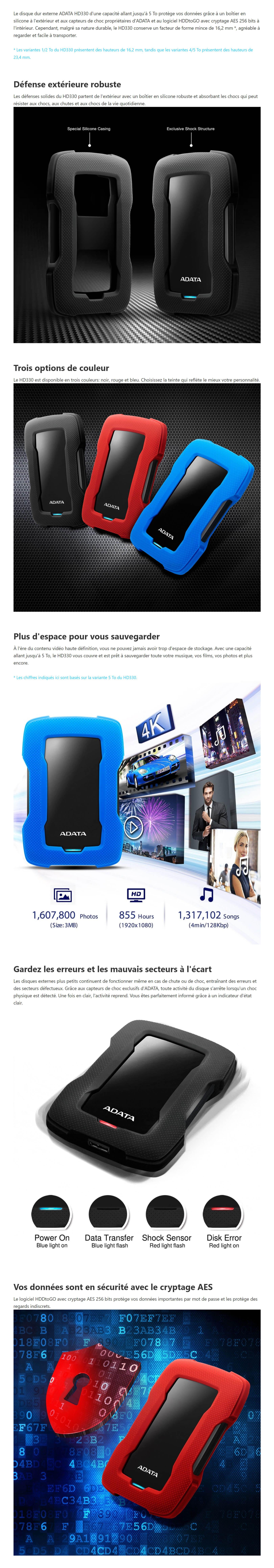 Disque dur Externe ADATA HD330 1TB USB 3.1 Antichoc (AHD330-1TU31-CBK)
